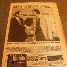 Colecionismo desportivo: MUNDO DEPORTIVO(19-2-75)JOHAN CRUYFF Y ORRANTÍA,AMIGOS...DAUDER(TARRASA)ORANTES(TENIS)BLANCH(ESPAÑOL. Lote 58373140