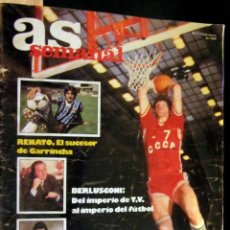 Coleccionismo deportivo: AS SEMANAL Nº 7 1986 SABONIS BERLUSCONI HUGUES RENATO. Lote 58948915