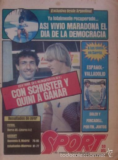 DIARIO SPORT DEL 11 DE DICIEMBRE DE 1983 - SCHUSTER Y QUINI (Coleccionismo Deportivo - Revistas y Periódicos - Sport)