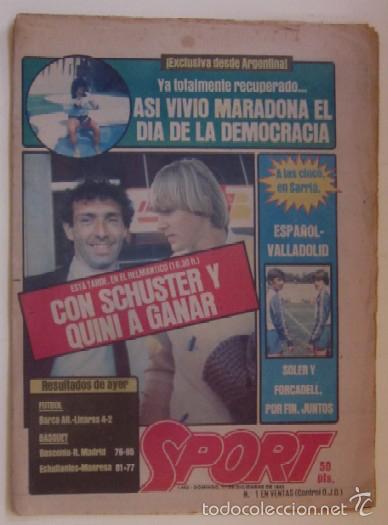 Coleccionismo deportivo: DIARIO SPORT DEL 11 DE DICIEMBRE DE 1983 - SCHUSTER Y QUINI - Foto 5 - 59490043