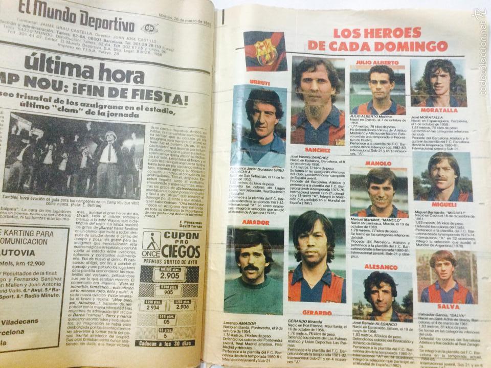 Coleccionismo deportivo: EL MUNDO DEPORTIVO 26 MARZO 1985, FC BARCELONA CAMPEON LIGA 1984-85 AQUEST ANY SI, CON POSTER. - Foto 4 - 59519163