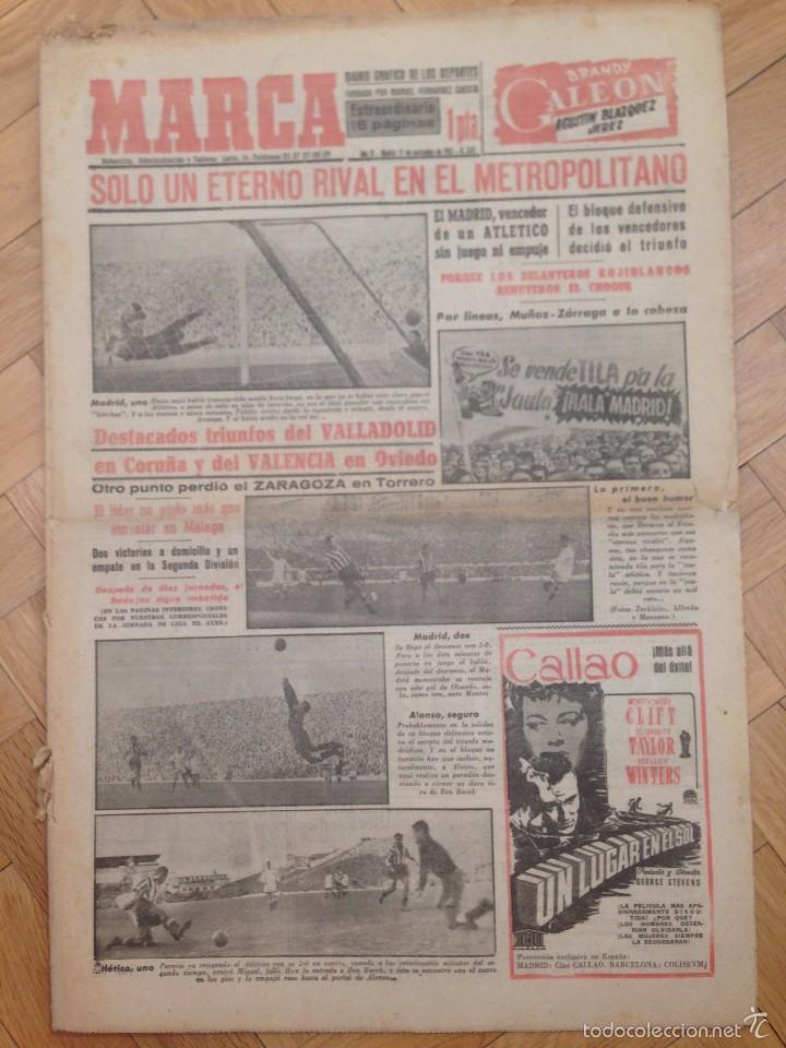 DIARIO MARCA 17 NOVIEMBRE 1952 FOTOS ATLETICO MADRID REAL MADRID EN EL METROPOLITANO TORRERO (Coleccionismo Deportivo - Revistas y Periódicos - Marca)