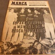 Coleccionismo deportivo: MARCA(22-8-61)PELÉ(BRASIL)DINO(ARGENTINA)ESPAÑA CAMPEONA PESCA SUBMARINA,LAGO BAÑOLAS,CARLOS ROMÁN.. Lote 61950080
