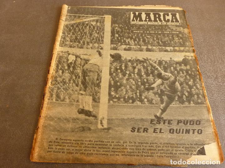MARCA(17-1-61)AT.MADRID 4 ZARAGOZA 0,JOHN CHARLES NO AL MADRID,GRIFFA,BELLA ALEJANDRA,RIVIERE,JAPÓN. (Coleccionismo Deportivo - Revistas y Periódicos - Marca)
