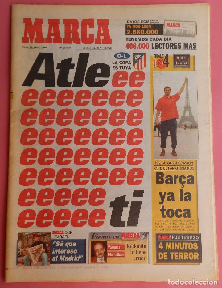 DIARIO MARCA ATLETICO DE MADRID CAMPEON COPA DEL REY 95/96 ATLETI DOBLETE TEMPORADA 1995/1996 (Coleccionismo Deportivo - Revistas y Periódicos - Marca)
