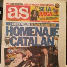 Coleccionismo deportivo: AS 5/DICIEMBRE/1998 PREVIA ESPANYOL - REAL MADRID. Lote 64339779