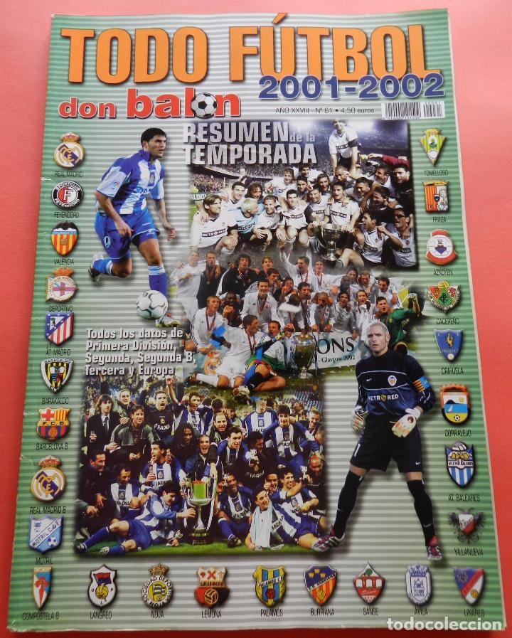 EXTRA DON BALON TODO FUTBOL 01/02 - REVISTA ESPECIAL GUIA RESUMEN TEMPORADA 2001/2002 SPANISH GUIDE (Coleccionismo Deportivo - Revistas y Periódicos - Don Balón)