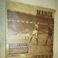 Coleccionismo deportivo: MARCA. ESPAÑA VENCE A FRANCIA EN COLOMBES 1949, Nº HISTÓRICO BASORA GAINZA ZARRA SELECCIÓN ESPAÑOLA. Lote 69688665