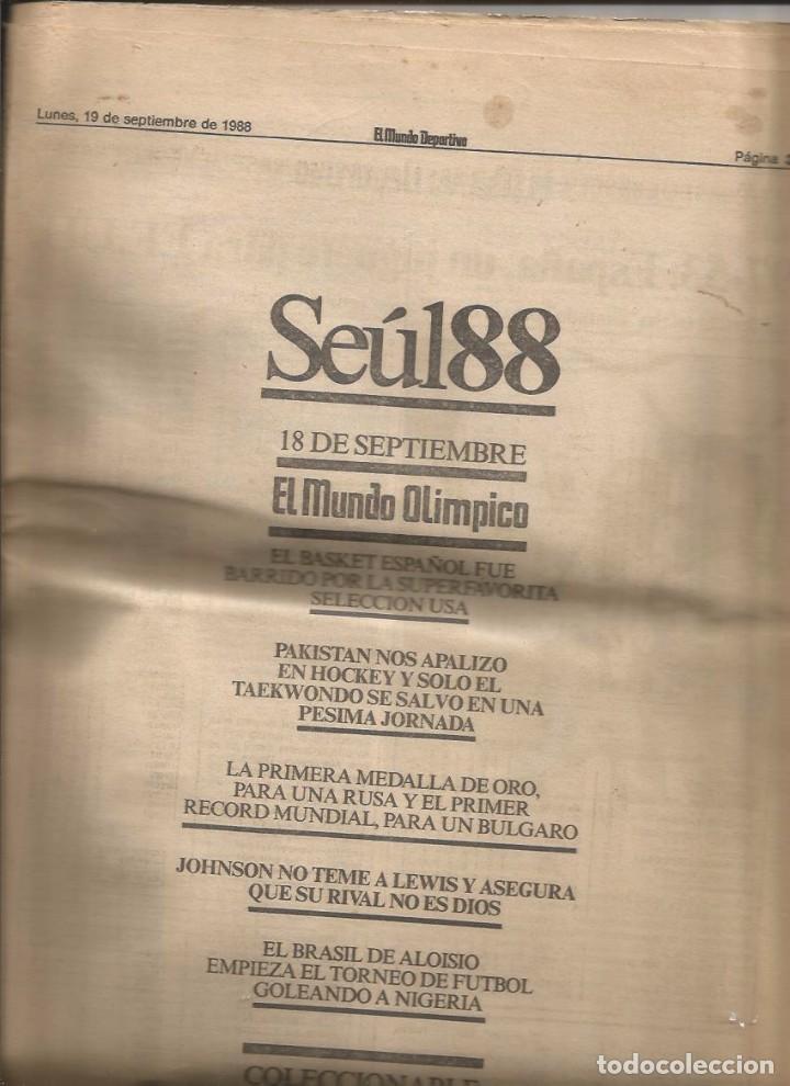 NUEVE SUPLEMENTOS CONSECUTIVOS (19/9/88 - 27/9/88) EL MUNDO DEPORTIVO [JUEGOS OLÍMPICOS SEÜL 88'] (Coleccionismo Deportivo - Revistas y Periódicos - Mundo Deportivo)