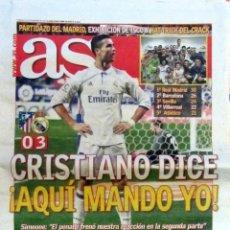 Coleccionismo deportivo: DIARIO AS ULTIMO DERBY VICENTE CALDERON ATLETICO 0 REAL MADRID 3 HAT TRICK CRISTIANO RONALDO. Lote 71171433
