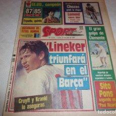 Colecionismo desportivo: SPORT(21-7-86)GARY LINEKER(BARÇA)ASI GANAMOS EL MUNDIAL DE MEXICO BILARDO(ARGENTINA).. Lote 73017599
