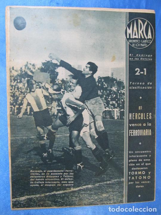Coleccionismo deportivo: MARCA. SUPLEMENTO GRÁFICO DE LOS MARTES. AÑO II. 9 DE FEBRERO DE 1943. NUM. 11. - Foto 3 - 74685607