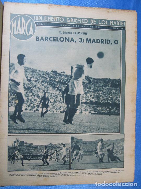 Coleccionismo deportivo: MARCA. SUPLEMENTO GRÁFICO DE LOS MARTES. AÑO II. 8 DE JUNIO DE 1943. NUM. 28. BARCELONA / MADRID. - Foto 2 - 74687915