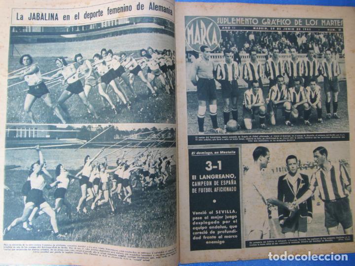 Coleccionismo deportivo: MARCA. SUPLEMENTO GRÁFICO DE LOS MARTES. AÑO II. 29 DE JUNIO DE 1943. NUM. 31. LANGREANO. - Foto 2 - 74694687