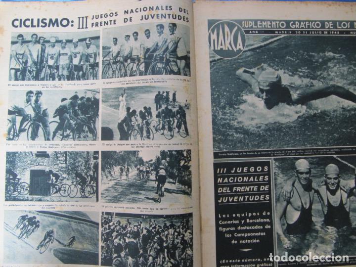 Coleccionismo deportivo: MARCA. SUPLEMENTO GRÁFICO DE LOS MARTES. AÑO II. 20 DE JULIO DE 1943. NUM. 34. FRENTE JUVENTUDES. - Foto 2 - 74695559