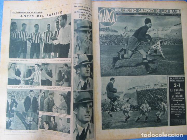 Coleccionismo deportivo: MARCA. SUPLEMENTO GRÁFICO DE LOS MARTES. AÑO II. 20 DE ABRIL DE 1943. Nº 21. ESPAÑOL PROMOCIÓN. - Foto 2 - 74697299
