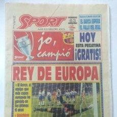 DIARIO SPORT FINAL WEMBLEY FC BARCELONA CAMPEÓN COPA EUROPA, 23 MAYO 1992,