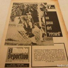 Coleccionismo deportivo: (MS)MUNDO DEPORTIVO(3-3-74)AT.MADRID 5 ESPAÑOL 1 !!!MARIANO HARO,JOHAN CRUYFF Y EL MUNDIAL,CLARES.. Lote 132971725