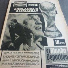 Coleccionismo deportivo: (MS)MUNDO DEPORTIVO(7-7-74)CON JOHAN CRUYFF HOY FINAL MUNDIAL-74 HOLANDA-ALEMANIA!POLONIA 1 BRASIL 0. Lote 136430593