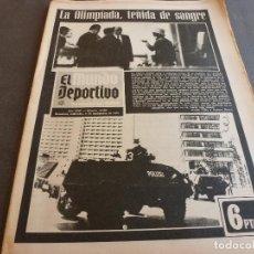 Coleccionismo deportivo: (MS)MUNDO DEPORTIVO(6-9-72)OLIMPIADAS MUNICH-72 TEÑIDAS SANGRE POR ATENTADOS,ROBERTO MARTINEZ,SPITZ,. Lote 76738775