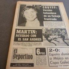 Coleccionismo deportivo: (MS)MUNDO DEPORTIVO(3-8-73)!!CRUYFF NO FICHA POR BARÇA !!EL ESPAÑOL EN SARRIÁ,PEIRÓ(AT.MADRID). Lote 77159229