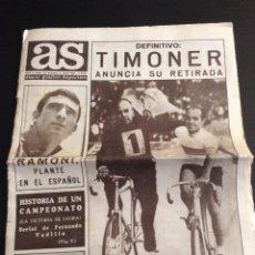 Coleccionismo deportivo: PERIÓDICO AS 31 JULIO 1968 TIMONER CICLISMO FÚTBOL. Lote 77524541