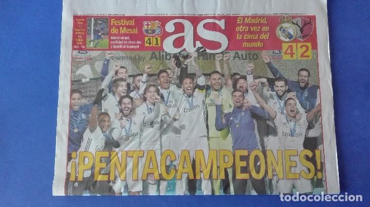AS, EL REAL MADRID PENTACAMPEÓN DEL MUNDO, LUNES 19 DE DICIEMBRE DE 2016. (Coleccionismo Deportivo - Revistas y Periódicos - As)