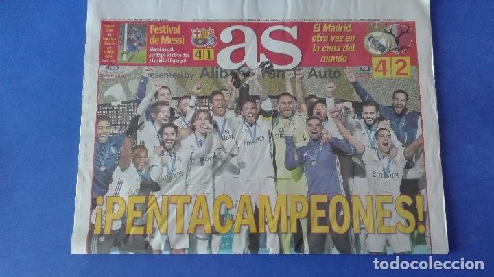Coleccionismo deportivo: AS, EL REAL MADRID PENTACAMPEÓN DEL MUNDO, LUNES 19 DE DICIEMBRE DE 2016. - Foto 2 - 78269897