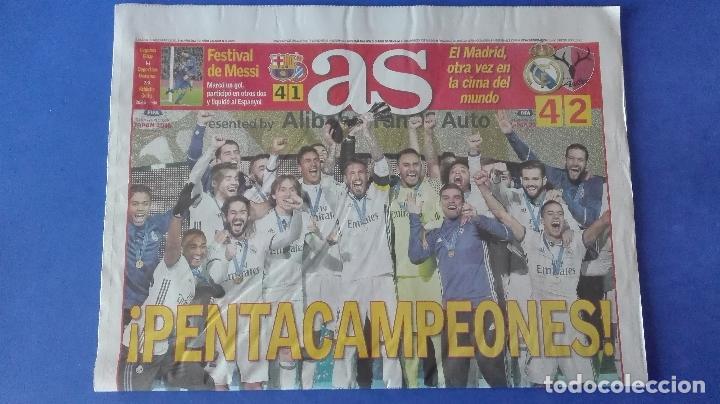 Coleccionismo deportivo: AS, EL REAL MADRID PENTACAMPEÓN DEL MUNDO, LUNES 19 DE DICIEMBRE DE 2016. - Foto 3 - 78269897