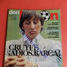 Colecionismo desportivo: REVISTA DON BALON Nº 135 POSTER FOTOS PLANTILLA UD LAS PALMAS 77/78 LIGA 1977/1978 CRUYFF BARÇA. Lote 84785103
