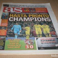 Coleccionismo deportivo: PERIODICO AS CHAMPIONS LEAGUE 2009 ARSENAL 3 VILLARREAL 0. Lote 80518529