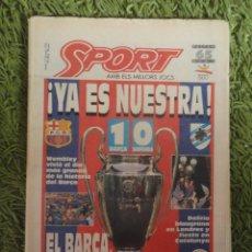 Coleccionismo deportivo: SPORT 1A PRIMERA EDICION 21 MAYO 1992 WEMBLEY BARÇA CAMPEON CHAMPIONS LEAGUE FC BARCELONA CON POSTER. Lote 81579964