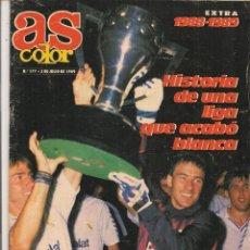 Coleccionismo deportivo: AS COLOR. Nº 177. 2 DE JULIO 1989. POSTER CENTRAL REAL MADRID CAMPEÓN LIGA 1988 - 89. (B/57). Lote 82190400