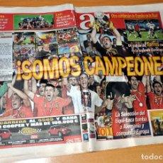 Coleccionismo deportivo: DIARIO AS - Nº 13623 - SELECCIÓN DE ESPAÑA CAMPEONA DE EUROPA AÑO 2008 - ESPAÑA 1 - ALEMANIA 0. Lote 83551976