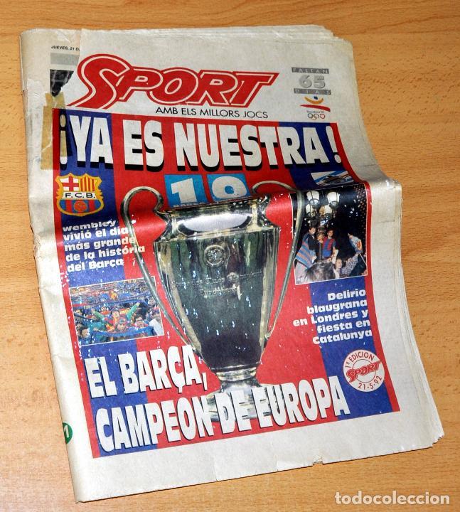 DIARIO SPORT - F.C. BARCELONA CAMPEÓN DE SU 1ª COPA DE EUROPA - BARÇA 1 - SAMPDORIA 0 - AÑO 1992 (Coleccionismo Deportivo - Revistas y Periódicos - Sport)