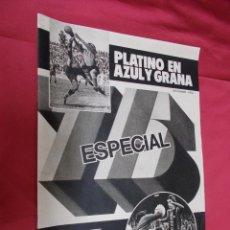 Coleccionismo deportivo: EL MUNDO DEPORTIVO. PLATINO EN AZUL Y GRANA. ESPECIAL 75 ANIVERSARIO.NOVIEMBRE 1974.. Lote 84166768