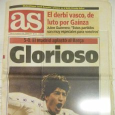Coleccionismo deportivo: DIARIO AS - 8 DE ENERO 1995, Nº 8790 - GLORIOSO - REAL MADRID 5-O BARÇA. Lote 84834500