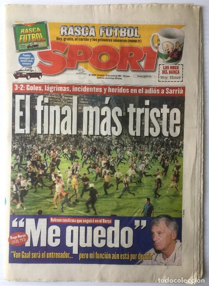 DIARIO SPORT. Nº 6338. 22 JUNIO 1997. EL FINAL MÁS TRISTE. BARÇA. FUTBOL CLUB BARCELONA (Coleccionismo Deportivo - Revistas y Periódicos - Sport)