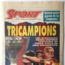 Coleccionismo deportivo: DIARIO SPORT. Nº 4889. 21 JUNIO 1993. TRICAMPIONS. BARÇA. FUTBOL CLUB BARCELONA. Lote 87072988