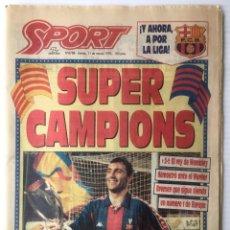 Coleccionismo deportivo: DIARIO SPORT. Nº 4788. 11 MARZO 1993. SUPER CAMPIONS. BARÇA. FUTBOL CLUB BARCELONA. Lote 87079972