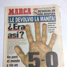 Coleccionismo deportivo: MARCA 5-0 MANITA REAL MADRID AL FC BARCELONA ENERO 1995. Lote 88904510