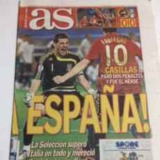 Coleccionismo deportivo: DIARIO AS 23 JUNIO 2008 ESPAÑA - ITALIA. Lote 89783039