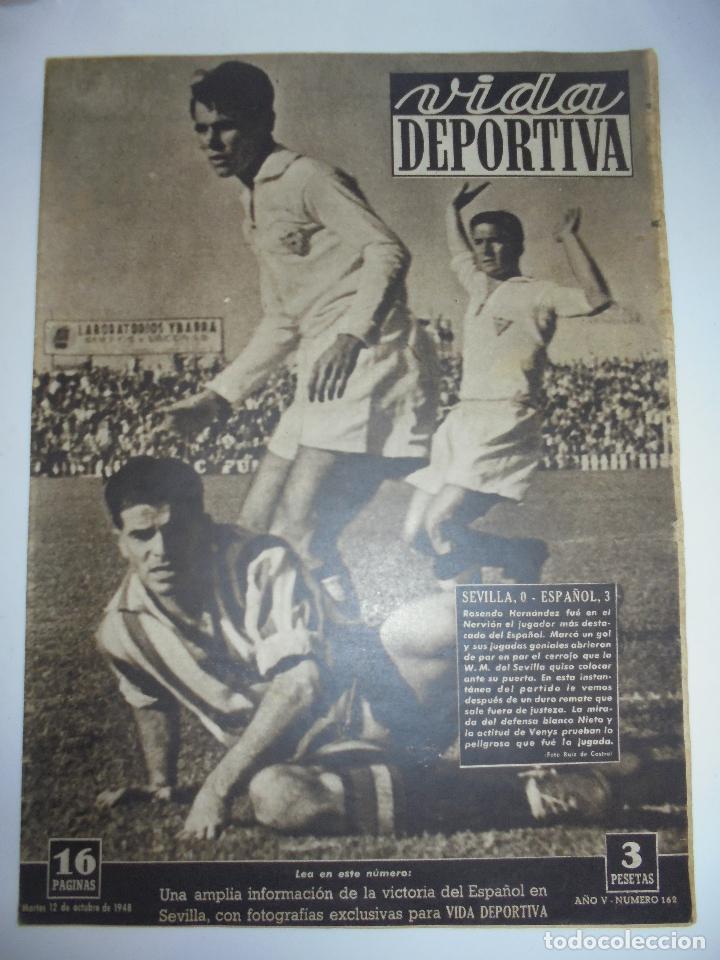 PERIÓDICO VIDA DEPORTIVA. AÑO V. NÚMERO 162. MARTES 12 OCTUBRE 1948. 16 PAGINAS. 38,5X28,5 CM (Coleccionismo Deportivo - Revistas y Periódicos - Vida Deportiva)