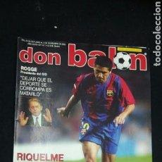 Coleccionismo deportivo: REVISTA DON BALON - RIQUELME - NOVIEMBRE 2002 - INCLUYE POSTER RAYO VALLECANO - TDKR36. Lote 90931405