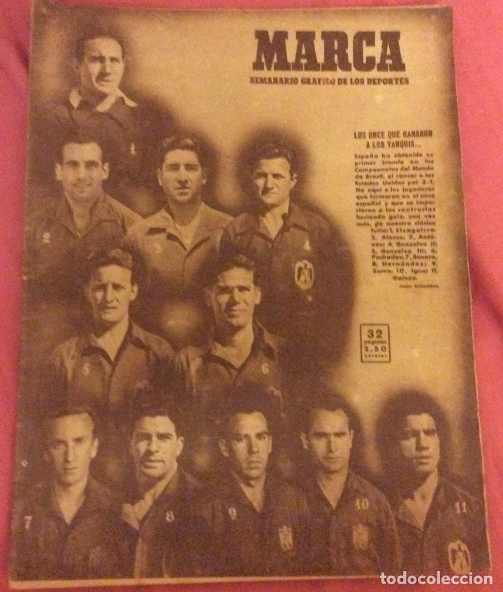 SEMANARIO MARCA . JUNIO 1950. ESPAÑA 3 -EEUU 1. (Coleccionismo Deportivo - Revistas y Periódicos - Marca)