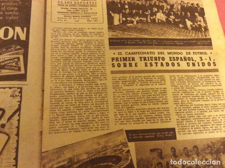 Coleccionismo deportivo: SEMANARIO MARCA . JUNIO 1950. ESPAÑA 3 -EEUU 1. - Foto 2 - 91761060