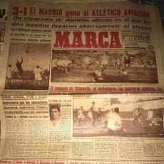 Coleccionismo deportivo: ANTIGUO PERIÓDICO MARCA EL MADRID GANA AL ATLÉTICO DE AVIACIÓN - 1945. Lote 93023880