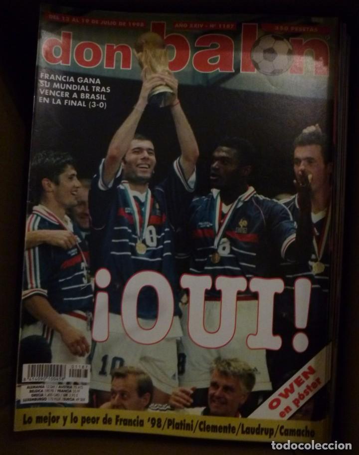 Coleccionismo deportivo: Lote de 85 revistas Don Balon nº sueltos de 1996 a 2003 La septima del Madrid Francia mundial 98 etc - Foto 6 - 94184760