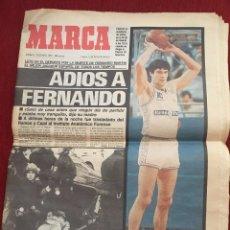 Coleccionismo deportivo: DIARIO PERIÓDICO MARCA 4 DE DICIEMBRE DE 1989 MUERTE DE FERNANDO MARTÍN REAL MADRID BALONCESTO. Lote 95068771