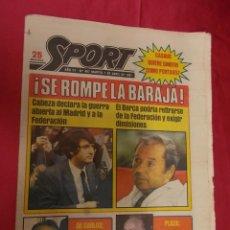Coleccionismo deportivo: SPORT. Nº 497. 7 ABRIL 1981. SE ROMPIO LA BARAJA. EL BARÇA PODRIA RETIRARSE DE LA FEDERACIÓN. Lote 96111495